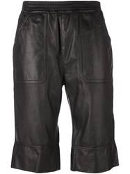 Diesel Black Gold Cropped Leather Trousers Black