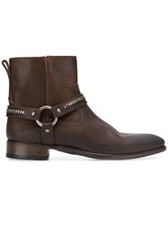 John Varvatos Side Zip Buckle Ankle Boots Brown
