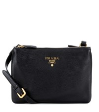 Prada Daino Small Leather Crossbody Bag Black