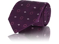 Fairfax Geometric Pattern Silk Necktie Purple