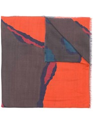 Paul Smith Ps By Printed Scarf Orange
