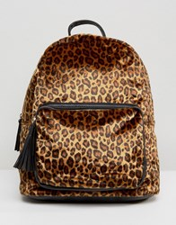 Pieces Leopard Print Backpack Multi