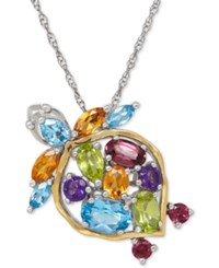 Macy's Multi Gemstone Turtle Pendant Necklace 2 1 2 Ct. T.W. In Sterling Silver And 14K Gold Plated Sterling Silver
