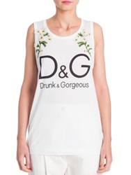 Dolce And Gabbana Sleeveless Embroidered Tank Top White