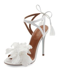 Aquazzura Floral Satin Bridal 105Mm Sandal White