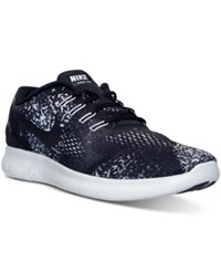 Nike Men's Free Run Print Running Sneakers From Finish Line Black Black White Anthrac