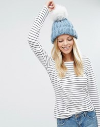 Asos Chunky Knit Beanie With Faux Fur Pom Blue