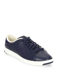 Cole Haan Grandpro Leather Tennis Sneakers Marine Blue