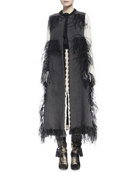 Lanvin Woven Feather Trimmed Tassel Vest