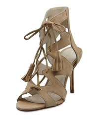 Bettye Muller Swell Caged Lace Up Suede Sandals Beige