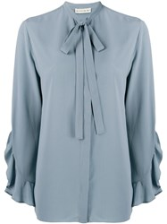 Etro Ruffle Trimmed Blouse Blue