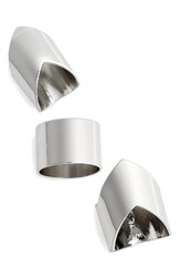 Topshop Women's V Shape Set Of 3 Rings Silver