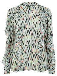 Warehouse Zig Zag Print Ruffle Blouse Multi
