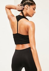 Missguided Active Black Seamless Cropped Sports Top