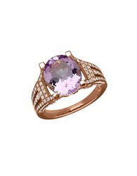 Lord And Taylor Amethyst Diamond 14K Rose Gold Ring 0.75 Tcw