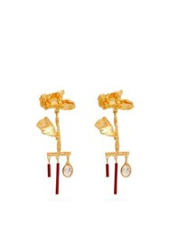 Valentino Wilted Flower Drop Pendant Earrings Red