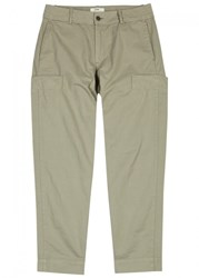 Folk Sage Tapered Cotton Cargo Trousers Olive