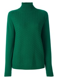 Malo Roll Neck Ribbed Pullover Green