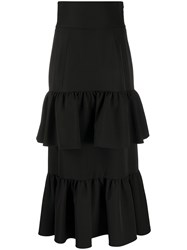 Sara Battaglia Tiered Ruffle Maxi Skirt Black