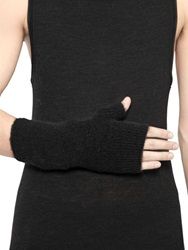 Isabel Benenato Brushed Wool Knit Fingerless Gloves