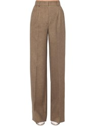 Fendi Flared Wool And Silk Flannel Pants Folk