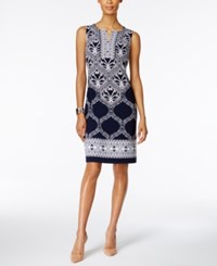 Jm Collection Petite Printed Sheath Dress Created For Macy's Black Cayman Scroll