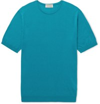 John Smedley Stonwell Slim Fit Sea Island Cotton And Cashmere Blend T Shirt Teal