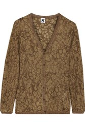 M Missoni Metallic Crochet Knit Cardigan Dark Brown