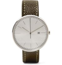 Uniform Wares M40 Stainless Steel And Pebble Grain Leather Watch Green