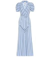 Rosie Assoulin Striped Cotton Blend Maxi Dress Blue