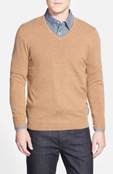 Men's Big And Tall John W. Nordstrom Cashmere V Neck Sweater Tan Dale
