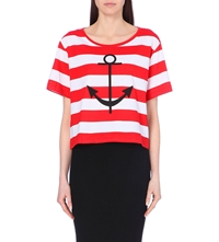 Claudie Pierlot Nautical Cotton Jersey T Shirt Red