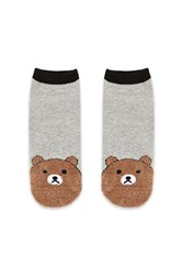Forever 21 Fuzzy Bear Print Ankle Socks Grey Multi