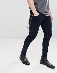 Noose And Monkey Super Skinny Jeans In Clean Indigo With Chain Black