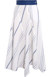 Loewe Leather Trimmed Striped Cotton And Linen Blend Midi Skirt Off White