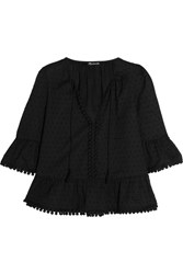 Madewell Pompom Trimmed Swiss Dot Cotton Blouse Black
