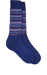Barneys New York Men's Striped Cashmere Blend Socks Blue Light Blue Orange Blue Light Blue Orange
