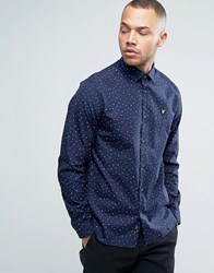 Lyle And Scott Polka Dot Shirt Regular Fit Eagle Logo In Navy Navy
