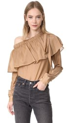 Robert Rodriguez One Shoulder Top Caramel