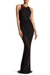 Issue New York Sheer Illusion Beaded Gown Black