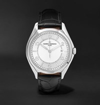 Vacheron Constantin Fiftysix Automatic 40Mm Stainless Steel And Alligator Watch Silver