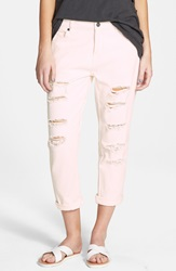 Volcom Destroyed Slouchy Boyfriend Jeans Barely Pink
