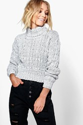 Boohoo Marl Cable Knit Chunky Crop Jumper Grey
