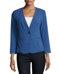 Kensie One Button Long Sleeve Blazer Blue