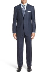 Hart Schaffner Marx Men's Big And Tall 'New York' Classic Fit Solid Wool Suit Dark Blue