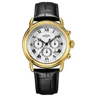 Rotary Men's Canterbury Chronograph Date Leather Strap Watch Black Gold