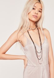 Missguided Mixed Metal Layered Choker Multi