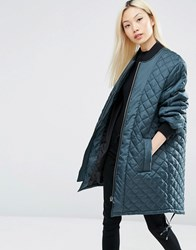 Asos Longline Quilted Jacket Teal Green
