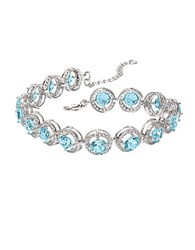 Lord And Taylor Blue Topaz White Topaz Sterling Silver Bracelet