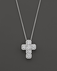 Bloomingdale's Diamond Cross Pendant Necklace In 14K White Gold 1.35 Ct. T.W.